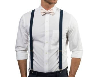 Petal Blush Bow Tie & Navy Suspenders with Petal Blush Pocket Square -- Ring Bearer Outfit -- Grooms Bow Tie Suspenders Pocket Square