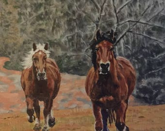 """Freedom portrays horses running free. It is 11""""x14"""" oil on gallery wrapped canvas. Image wraps around all sides."""
