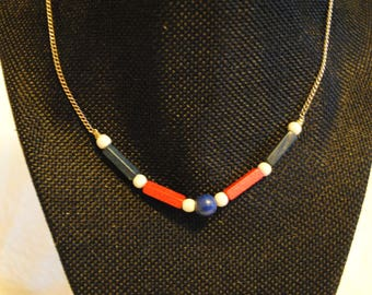 Wooden red white and blue Beads and silver colored chain necklace