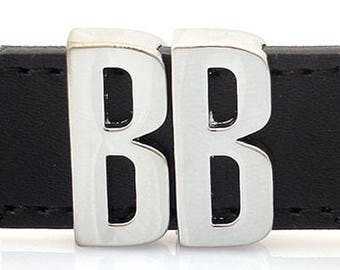 slim ring initial rondelle pass through type Pendant Charm 18mm band B OR) 5 Pieces