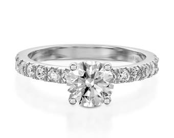2.30 CT F/SI1 Natural Round Cut Diamond Engagement Ring 14K White Gold