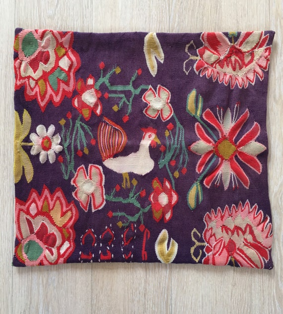 Vintage Swedish tapestry panel traditional pattern in wool