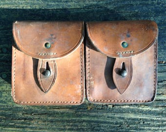 1040's 1950s French Military Belt Double Pouches / Medium Brown / Leather / *Steampunk*
