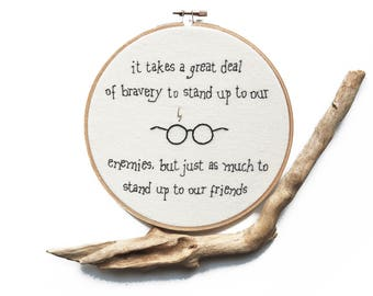 """Harry Potter Embroidery. 7"""" Hoop Art. Quote Embroidery Art. Albus Dumbledore Art. Wall Art. Gifts under 50."""