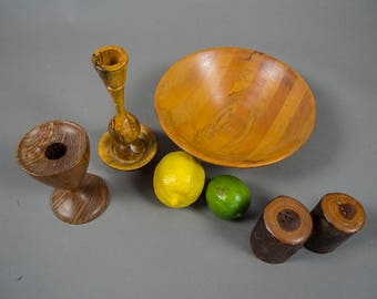 Handcrafted Wood Bowl and Candleholders, Arts and Crafts Organic Wood Grouping, Handcrafted Candleholders Bowl Salt and Pepper Shakers