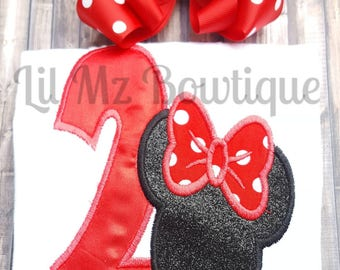 Minnie Mouse Embroider birthday top with hair bow clip, Minnie mouse shirt, Minnie mouse birthday shirt, birthday shirt, minnie shirt