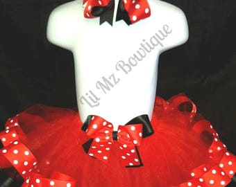 Inspired Minnie mouse ribbon trim tutu, minnie mouse tutu, minnie mouse tutu set, minnie mouse birthday outfit, minnie mouse tutu dress,