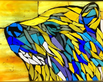 Bear Stained Glass Mosaic