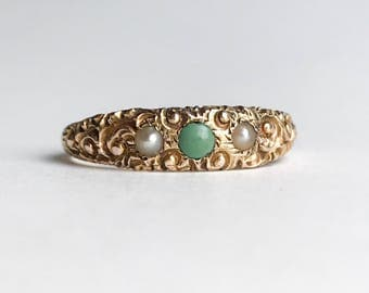 Victorian 14k Turquoise and Pearl Scrollwork Ring