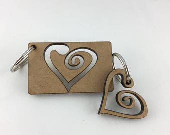 Love Hearts - Couple's Keyring Set