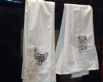 Flour Sack Dish Towels With Embroidery - Chicken & Canning Themed Designs
