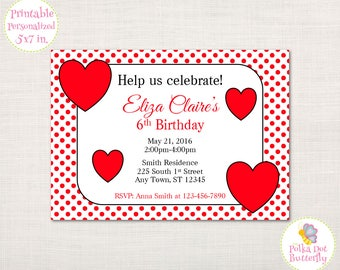 Red Heart Birthday Invitation, Girl Birthday Invitation, Red Polka Dot Birthday Invitation, Girls Birthday Party Invitation, Birthday Girl