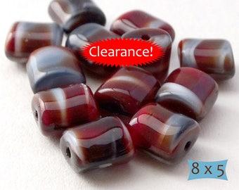 Burgundy Gray Marbled Czech Glass Barrel Beads--10 Pcs | 23-RV620-10