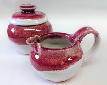 Ready To Ship, Handmade sugar & creamer set, Pottery sugar/creamer set, Ceramic sugar/creamer set