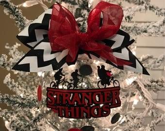 "Custom Hand decorated Stranger Things inspired 4"" glass Christmas ornament"