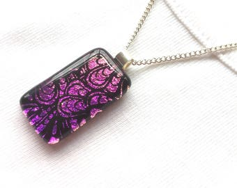 Feather necklace, feather pendant, pink fused glass, pink pendant, dichroic pendant, dichroic glass pendant, pink dichroic glass