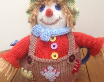 Knitted Tea Cosy, Cozy in the Shape of a Scarecrow