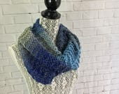 Hand knit infinity scarf / wool scarf / gift for her / ready to ship / light scarf / knit scarf / made in Canada / sale / blue scarf