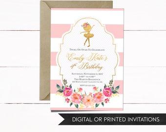 Ballerina Invitation, Ballerina Birthday Invitation, Birthday Invitation, Girls Invitations, Ballerina Birthday Party, Girls Birthday Party