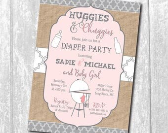 Huggies and Chuggies Invitation printable/bbq, beer, couples, man shower, huggies for chuggies, girl, pink gray/Wording can be changed