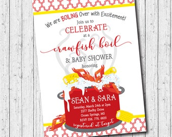 Crawfish Boil Baby Shower Invitation  printable/Digital File/couples shower, crawfish baby shower, couples crawfish/Wording can be changed