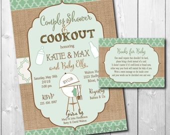 Couples Baby Shower Invitation, Couples Baby Q Invitation, Coed Baby Shower, boy girl baby shower/Printable/Digital/Wording can be changed