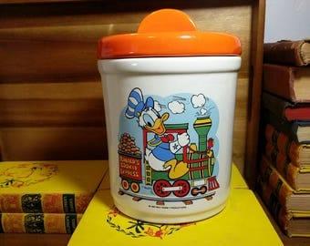 "1980 Walt Disney Productions ""Donald's Cookie Express"" Ceramic Cookie Jar"