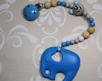 Bite necklace, silicone elephant, wooden beads