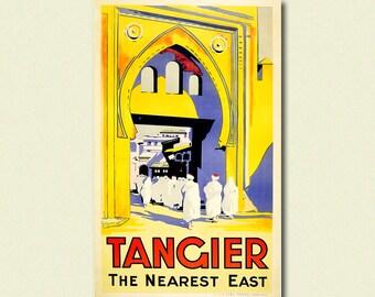 BUY 2 GET 1 FREE Morocoo Travel Print -  Tangier Poster Vintage Travel Poster Travel Decor Birthday Gift Idea Travel Wall Art Morocco