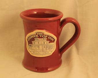 Vintage The Copper Top Inn Ceramic Clay Coffee Mug/Cup Shade, Ohio Beneen Pottery Brick Red