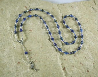 Thoth (Djehuty) Prayer Bead Necklace in Lapis Lazuli: Egyptian God of Wisdom and Learning, Language and Communication