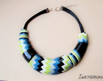 zigzag and black stripes, turquoise, lime, white and silver bib necklace