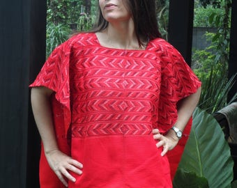 Gorgeous Vintage RED Hand Embroidery Huipil Tunic Top Guatemalan Kaftan Top Unstitched Blouse