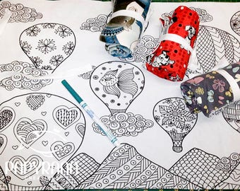 Color me hot air balloon place mat,  draw on place mat, portable place mat, drawing, child mandala, hot air balloon mandala