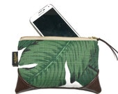 Mini Tropical Banana Leaf Zipper Pouch / Mini Clutch with inside lining and Zipper Pull or Leather Wristlet Strap
