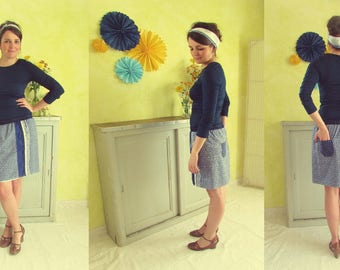 """Skirt """"Blue day"""" in blue and white cotton"""