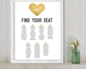 Wedding Seating Chart Sign DIY / Yellow Gold Whimsical Watercolor Heart / Custom Seating Sign ▷ Personalized and emailed printable file