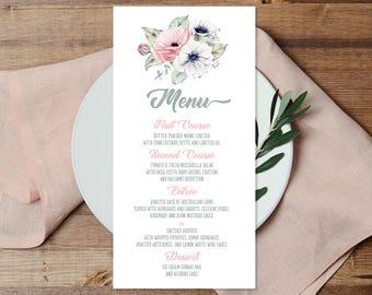 Boho Menu Card / Wedding Menu / Blush, White and Greenery, Anemone, Pink Peony Rose / Blush and Gray ▷ Printable File {or} Printed & Shipped