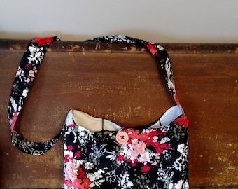 Coral and Black Handbag