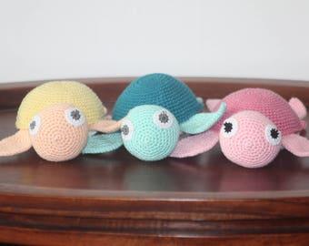 Handmade Amigurumi Sea Turtle, Baby Shower gift, made to order