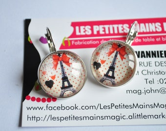 Vintage hearts knot eiffel tower Paris earrings