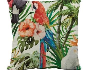 Parrot Flower Bird Tropical Bold Pillow Cushion Cover Linen Cotton