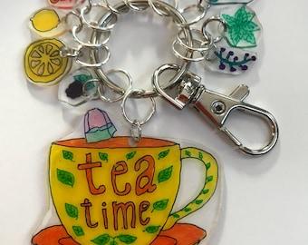 Key Ring, zipper pull, keyring, tea time, teacup keyring, tea keyring, tea,
