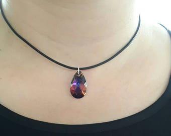 Swarovski Crystal Black Leather Choker, Swarovski Jewelry, Swarovski Necklace, Necklace Choker, Swarovski Gift, Statement Necklace,