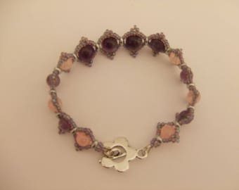 Bracelet pink and purple stone fashion gemstone