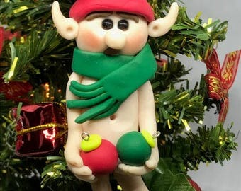 Naughty Polymer Clay Elf, Christmas decoration, for the tree, just for fun, affordable gift, unique present, for dad, knick knack,