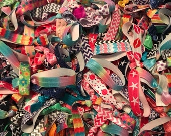 Elastic Hair Ties, solid, print, chevron, summer, bright, fun, anchors, no crease, hair accessories, perfect for lularoe and lipsense, gifts