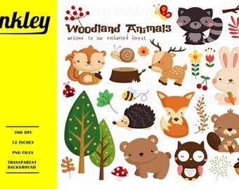 50%OFF!! Woodland Animal Clipart - Cute Clipart, Animal Clipart, Fun Clipart, Clipart Set, Adorable Digital Clip Art