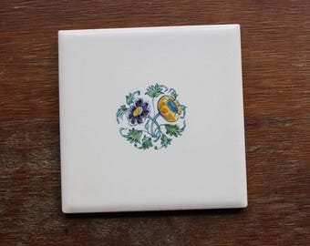 Vintage Hand Painted Floral DESVRES Decorative Wall Tile Trivet Made in France