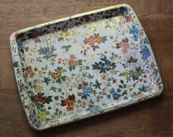 Vintage Floral Perfume Jewelry Vanity Tin Tray Daher Decorated Ware England